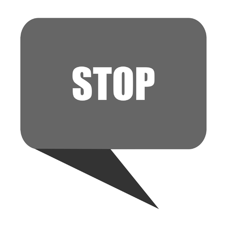Stop flat design web bubble vector icon.