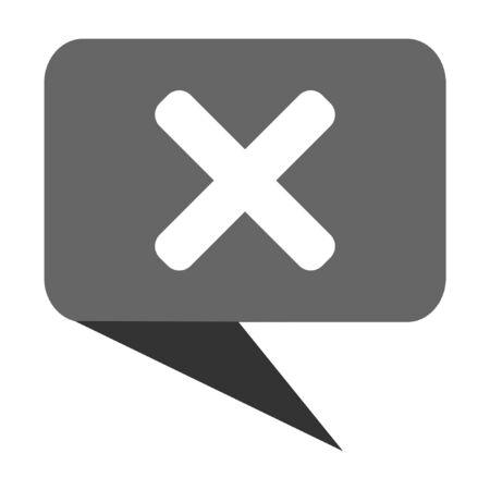 disagree: Cancel flat design web bubble vector icon. Illustration