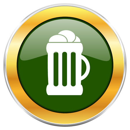 Beer green glossy round icon with golden chrome metallic border isolated on white background for web and mobile apps designers. Stock Photo