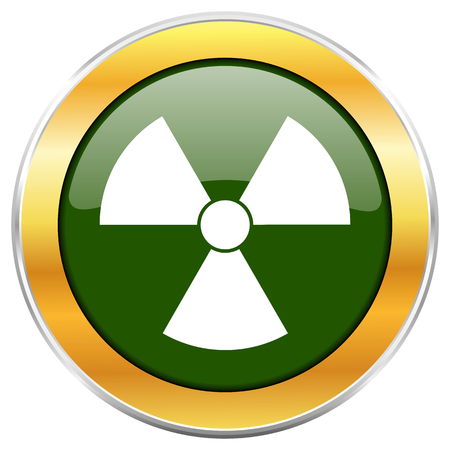 Radiation green glossy round icon with golden chrome metallic border isolated on white background for web and mobile apps designers.
