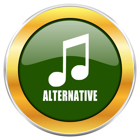 listen live stream: Alternative music green glossy round icon with golden chrome metallic border isolated on white background for web and mobile apps designers.