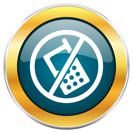 forbid: No phone blue glossy round icon with golden chrome metallic border isolated on white background for web and mobile apps designers.