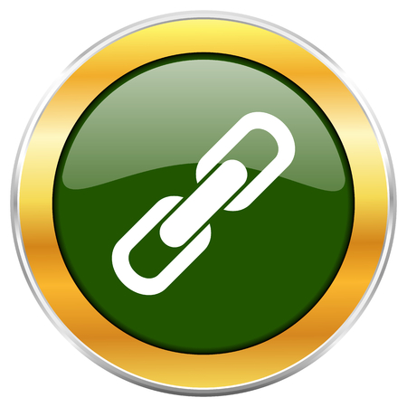 Link green glossy round icon with golden chrome metallic border isolated on white background for web and mobile apps designers. Stock Photo