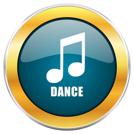 listen live stream: Dance music blue glossy round icon with golden chrome metallic border isolated on white background for web and mobile apps designers. Stock Photo