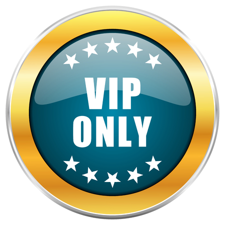 private club: Vip only blue glossy round icon with golden chrome metallic border isolated on white background for web and mobile apps designers. Stock Photo