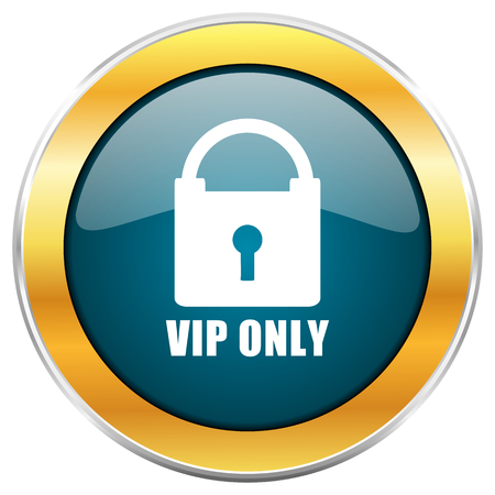 Vip only blue glossy round icon with golden chrome metallic border isolated on white background for web and mobile apps designers. Stock Photo