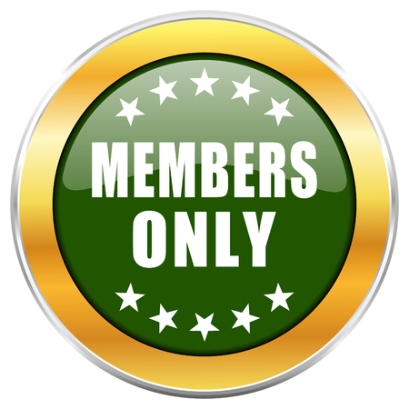 private club: Members only green glossy round icon with golden chrome metallic border isolated on white background for web and mobile apps designers.