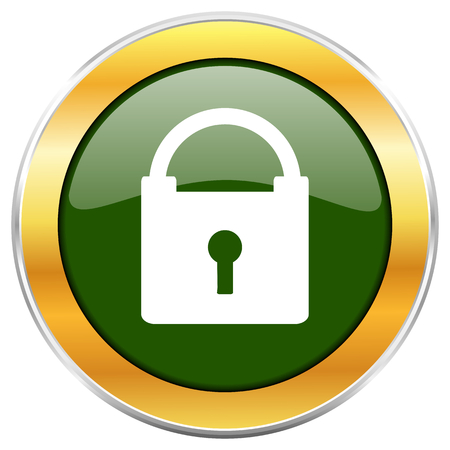 trusted: Padlock green glossy round icon with golden chrome metallic border isolated on white background for web and mobile apps designers.
