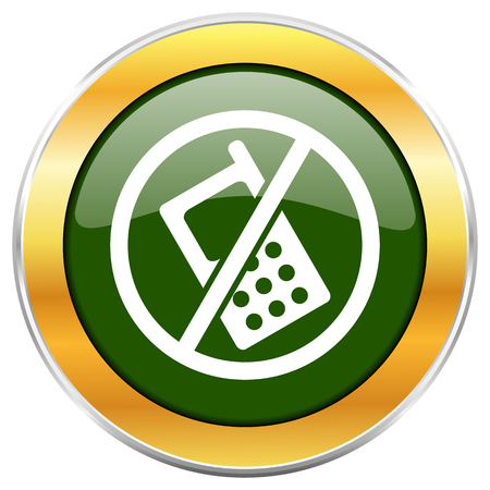 No phone green glossy round icon with golden chrome metallic border isolated on white background for web and mobile apps designers.