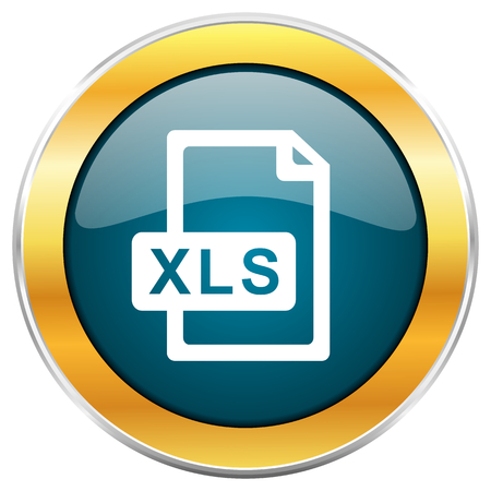 xls: Xls file blue glossy round icon with golden chrome metallic border isolated on white background for web and mobile apps designers.