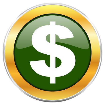 Icône ronde brillante dollar vert avec bordure métallique chromée dorée isolé sur fond blanc pour les concepteurs d'applications web et mobiles.