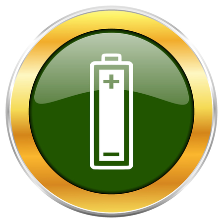 Battery green glossy round icon with golden chrome metallic border isolated on white background for web and mobile apps designers.
