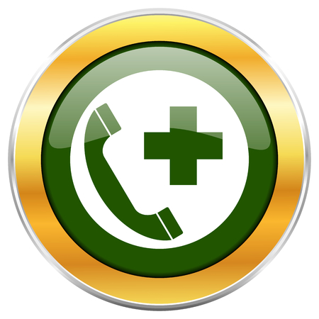 Emergency call green glossy round icon with golden chrome metallic border isolated on white background for web and mobile apps designers.