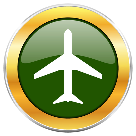 Plane green glossy round icon with golden chrome metallic border isolated on white background for web and mobile apps designers. Stock Photo