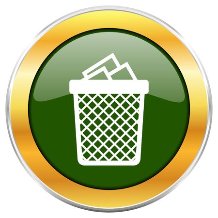 wastebasket: Trash can green glossy round icon with golden chrome metallic border isolated on white background for web and mobile apps designers. Stock Photo