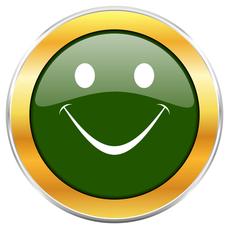 Smile green glossy round icon with golden chrome metallic border isolated on white background for web and mobile apps designers. Stock Photo
