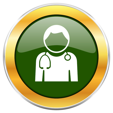 Doctor green glossy round icon with golden chrome metallic border isolated on white background for web and mobile apps designers.