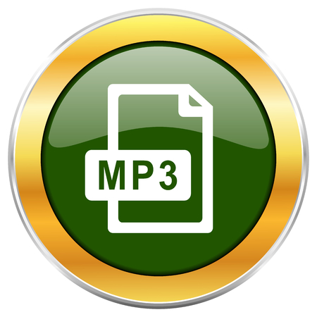 get in shape: Mp3 file green glossy round icon with golden chrome metallic border isolated on white background for web and mobile apps designers. Stock Photo