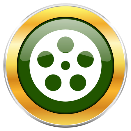 Film green glossy round icon with golden chrome metallic border isolated on white background for web and mobile apps designers. Stock Photo