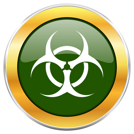 Biohazard green glossy round icon with golden chrome metallic border isolated on white background for web and mobile apps designers. Stock Photo