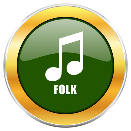 Folk music green glossy round icon with golden chrome metallic border isolated on white background for web and mobile apps designers. Stock Photo