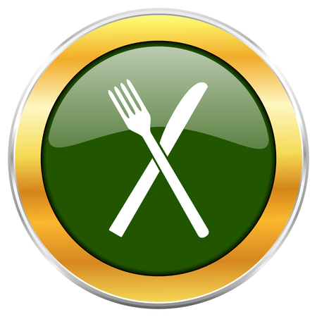 Restaurant green glossy round icon with golden chrome metallic border isolated on white background for web and mobile apps designers.