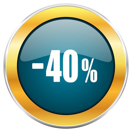 40 % 판매 소매 블루 광택 라운드 아이콘 황금 크롬 금속 테두리 웹 및 모바일 애플 리 케이 션 디자이너에 대 한 흰색 배경에 고립.