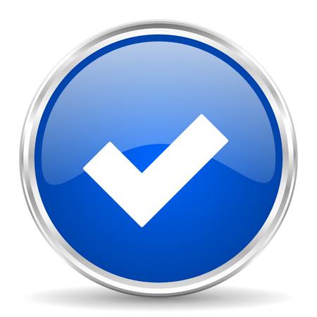Acepte el ícono azul brillante del vector. Botón redondo del Web de la frontera del cromo. Pulsador metálico plateado. Ilustración de vector