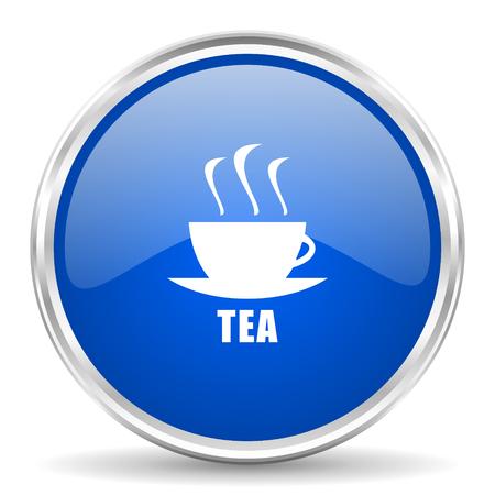 chrome: Tea blue glossy vector icon. Chrome border round web button. Silver metallic pushbutton.