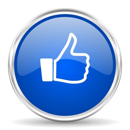 Like blue glossy vector icon. Chrome border round web button. Silver metallic pushbutton.