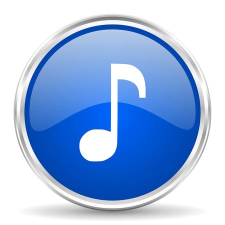 chrome: Music blue glossy vector icon. Chrome border round web button. Silver metallic pushbutton.