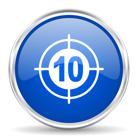 chrome: Target blue glossy vector icon. Chrome border round web button. Silver metallic pushbutton. Illustration