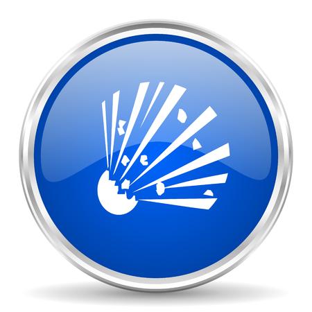 Bomb blue glossy vector icon. Chrome border round web button. Silver metallic pushbutton.