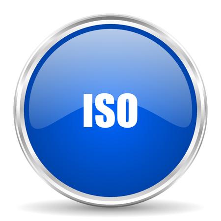 advantages: ISO blue glossy vector icon. Chrome border round web button. Silver metallic pushbutton.