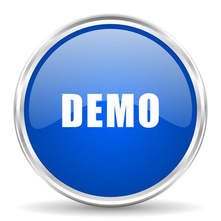 Demo blue glossy vector icon. Chrome border round web button. Silver metallic pushbutton.