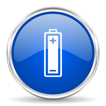 Battery blue glossy vector icon. Chrome border round web button. Silver metallic pushbutton.