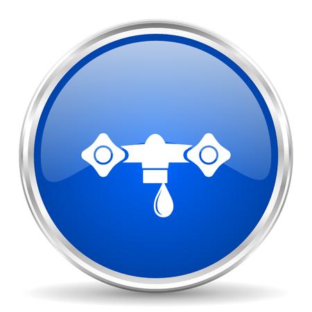 chrome: Water blue glossy vector icon. Chrome border round web button. Silver metallic pushbutton. Illustration