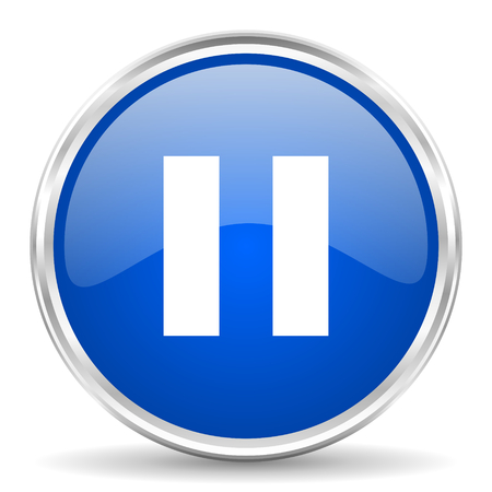 pause button: Pause blue glossy vector icon. Chrome border round web button. Silver metallic pushbutton.