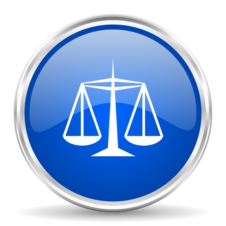 equidad: Justice blue glossy vector icon. Chrome border round web button. Silver metallic pushbutton.