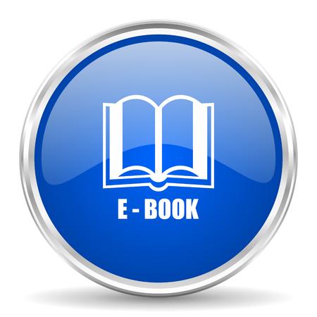 chrome: Book blue glossy vector icon. Chrome border round web button. Silver metallic pushbutton. Illustration