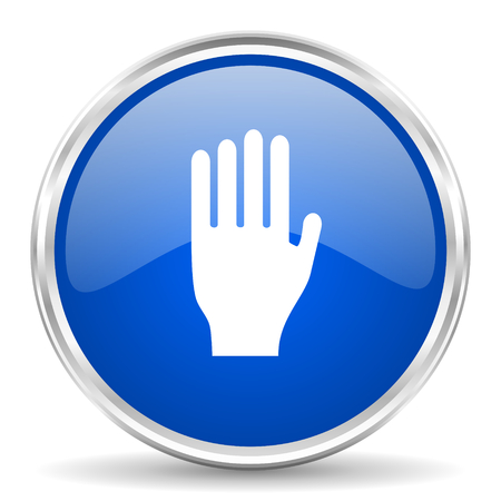 Stop blue glossy vector icon. Chrome border round web button. Silver metallic pushbutton.