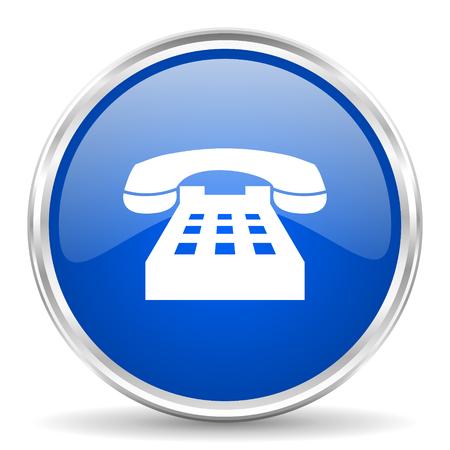 chrome: Phone blue glossy vector icon. Chrome border round web button. Silver metallic pushbutton.