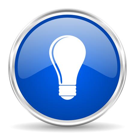 chrome: Bulb blue glossy vector icon. Chrome border round web button. Silver metallic pushbutton. Illustration