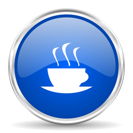 chrome: Espresso blue glossy vector icon. Chrome border round web button. Silver metallic pushbutton. Illustration