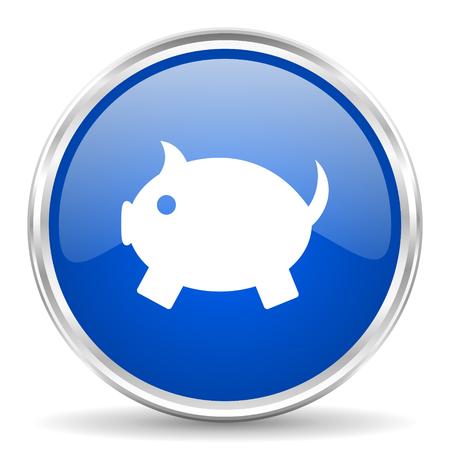 silver coins: Piggy bank blue glossy vector icon. Chrome border round web button. Silver metallic pushbutton.