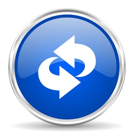 chrome: Rotation blue glossy vector icon. Chrome border round web button. Silver metallic pushbutton.