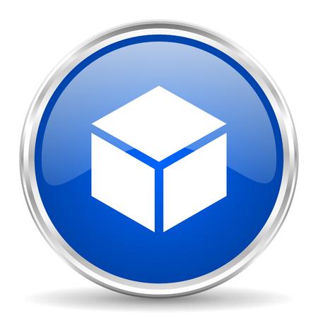 chrome: Box blue glossy vector icon. Chrome border round web button. Silver metallic pushbutton. Illustration