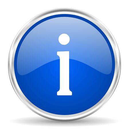 Icono azul brillante del vector de la información. Botón redondo de la web de borde cromado. Pulsador plateado metalizado.