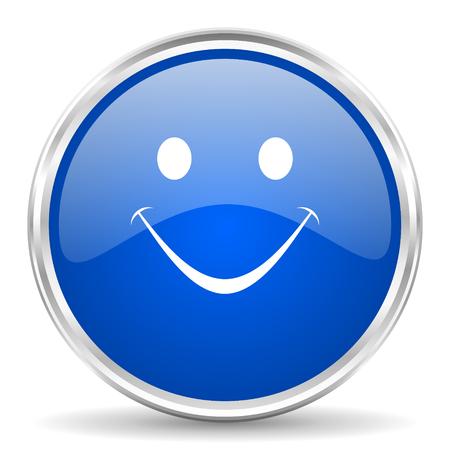 Smile blue glossy vector icon. Chrome border round web button. Silver metallic pushbutton. Иллюстрация