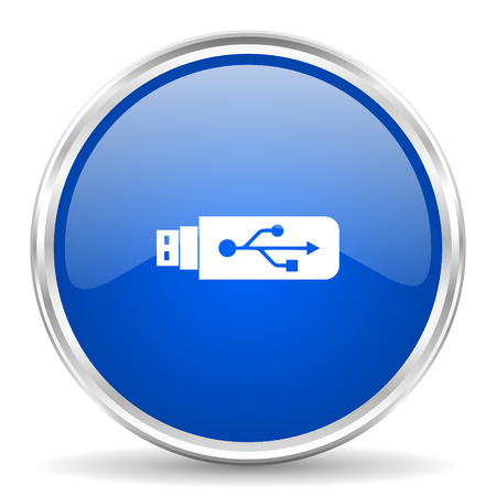 pendrive: Usb blue glossy vector icon. Chrome border round web button. Silver metallic pushbutton.
